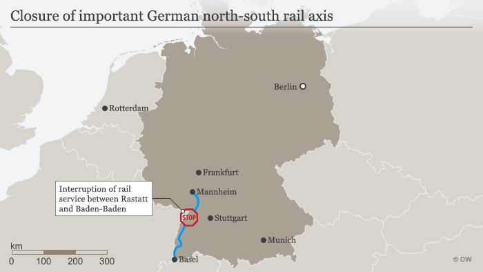 Closure of important German north-south rail axis (DW)