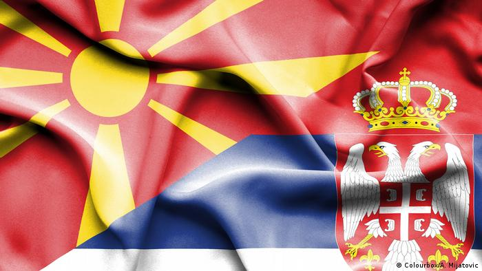 The flags of Macedonia and Serbia
