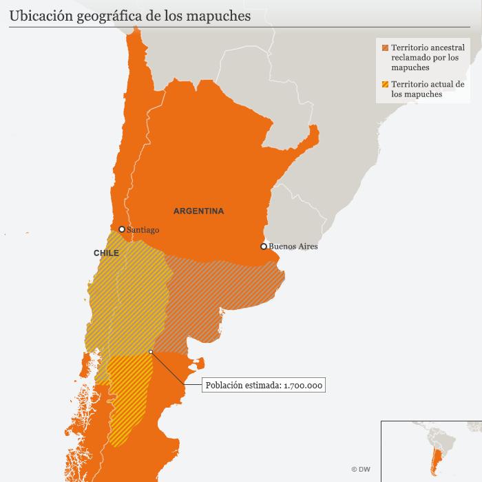 Infografik Karte Südamerika Mapuche SPA