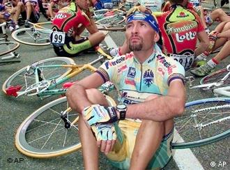 Marco Pantani leads a sit-in of riders after the 1998 Tour de France became overly-focused on doping