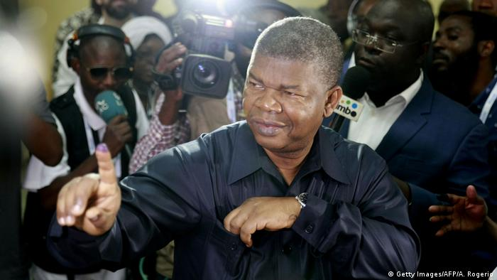 Angola's new President Joao Lourenco amid journalists