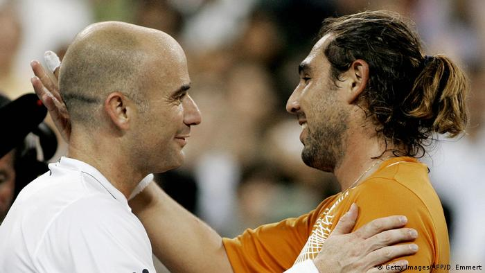 Tennis US Open 2006 Andre Agassi und Marcos Baghdatis (Getty Images/AFP/D. Emmert)