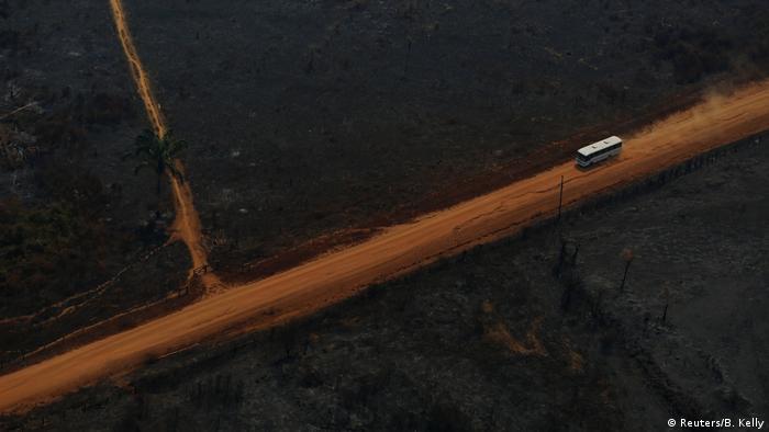 Vista aérea de ônibus em estrada margeada por florestas