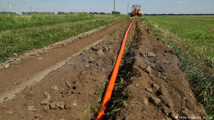 Fiber optic cable getting laid down in the countryside in the state of Saxony-Anhalt, Germany