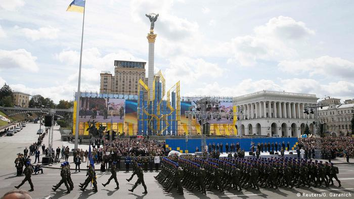 Servicemen march during a military parade marking Ukraine's Independence Day in Kiev,(Reuters/G. Garanich)