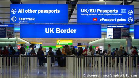 UK border control at Heathrow Airport, London