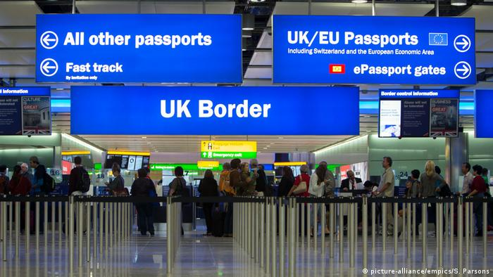 UK border control at Heathrow Airport, London