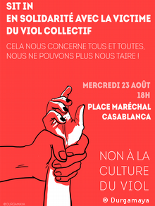 'No to rape culture': A Moroccan poster for a solidarity sit-in last summer (Durgamaya )