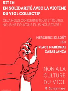 Marokko Plakat Demonstration gegen Vergewaltigungskultur