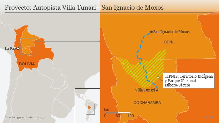 Infografik Karte Autobahn Bolivien SPA