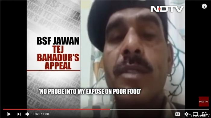 Screenshot Youtube- BSF Jawan Tej Bahadur Yadav (Youtube/NDTV)