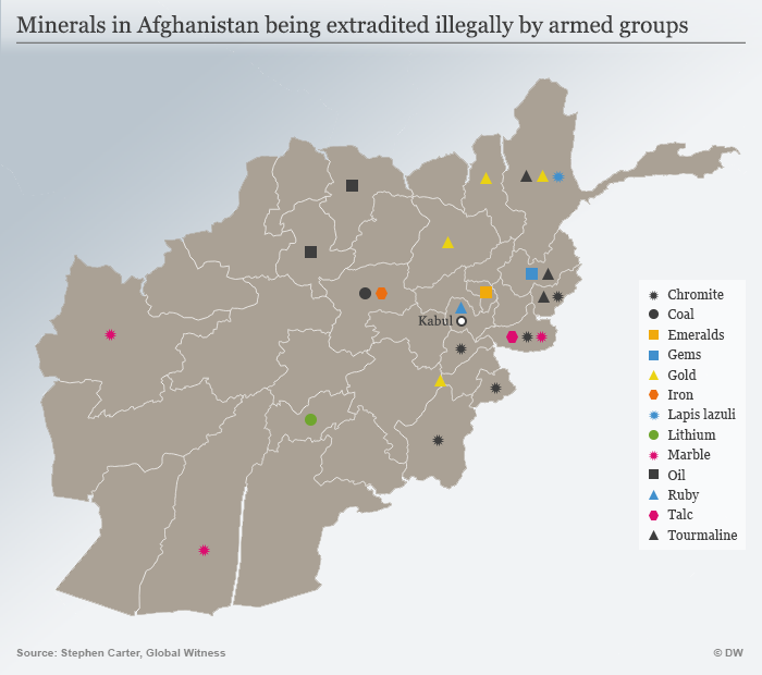 Infografik Karte Minerals in Afghanistan being extradited illegally by armed groups