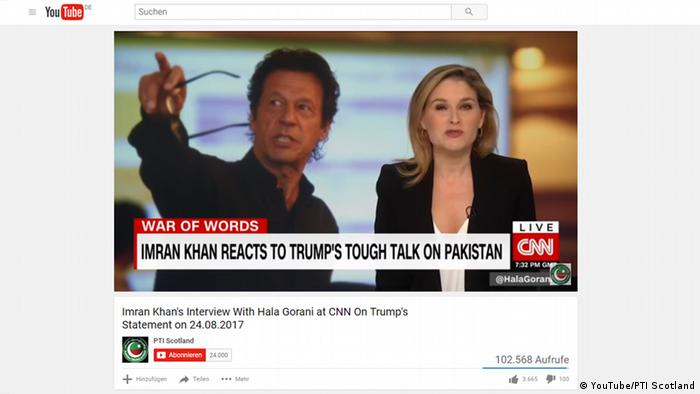 Screenshot: Youtube - Imran Khan im Interview mit CNN (YouTube/PTI Scotland)