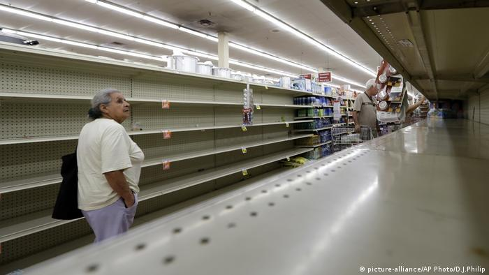 Empty shelves at a grocery store in Texas before Hurricane Harvey makes landfall