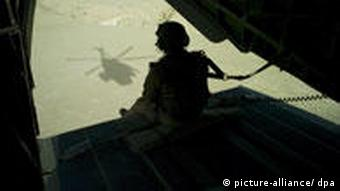 A German soldier on watch in Afghanistan