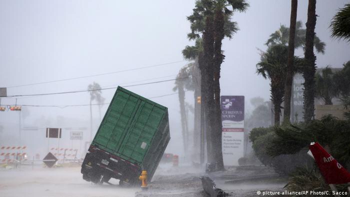 A power generator tips in front of Texas' CHRISTUS Spohn Hospital Corpus Christi-Shoreline as Hurricane Harvey hits Friday