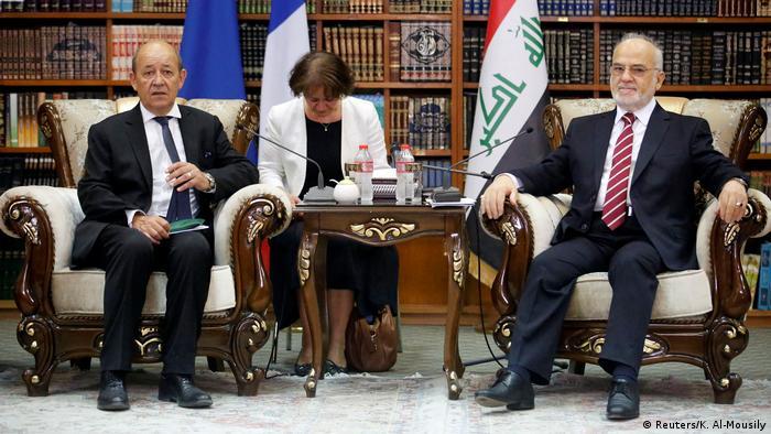 Irak Treffen Jean-Yves Le Drian und Ibrahim al-Jaafari