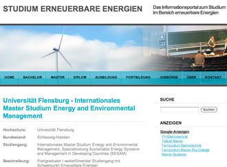 وب سایت دانشکدهی انرژی باد و انرژیهای تجدیدپذیر در دانشگاه فلنزبورگ