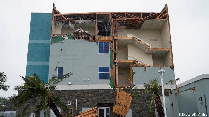The end wall of the Fairfield Inn is seen partially missing after Hurricane Harvey struck in Rockport, Texas