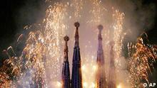 ** FILE ** Fireworks explode above Antoni Gaudi's unfinished Sagrada Familia cathedral seen in this June 1, 2002 file photo in Barcelona, Spain. Gaudi's Sagrada Familia, an unfinished Barcelona landmark that is considered a marvel of modern architecture, has lacked a construction permit for more than a century, city officials acknowledged Friday June 22, 2007. To this day construction continues on the church, widely considered Gaudi's masterpiece, and tourists flock to it even as scaffolding obstructs much of the interior and facade. More than two million did so last year. (AP Photo/Cesar Rangel)