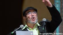 FARC leader Rodrigo Londono Echeverri, known as Timochenko speaks during the opening of their National Congress in Bogota on August 27, 2017 Colombia's leftist FARC rebels sought political rebirth on Sunday as they launched steps to transform into a party and seek elected office after disarming to end a half-century war. / AFP PHOTO / Raul Arboleda (Photo credit should read RAUL ARBOLEDA/AFP/Getty Images)