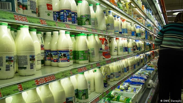 Белорусские молочные продукты в супермаркете