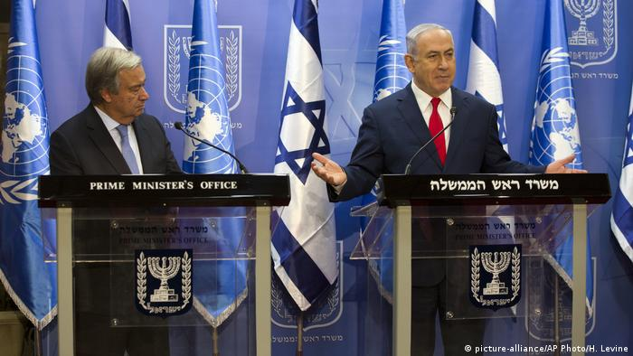 UN Secretary-General Antonio Guterres and Israeli Prime Minister Benjamin Netanyahu speak during a joint press conference in Jerusalem