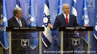 Antonio Guterres and Benjamin Netanjahu at a press conference on Monday August 28, 2017