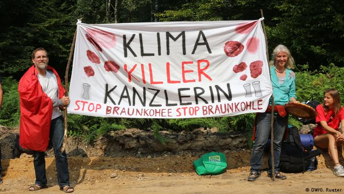Climate killer chancellor - Protestors demonstrate against Germany's lignite industry