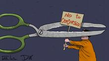 Cartoon from Sergey Elkin - No to censorship