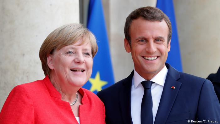 Merkel e Macron, presidente da França