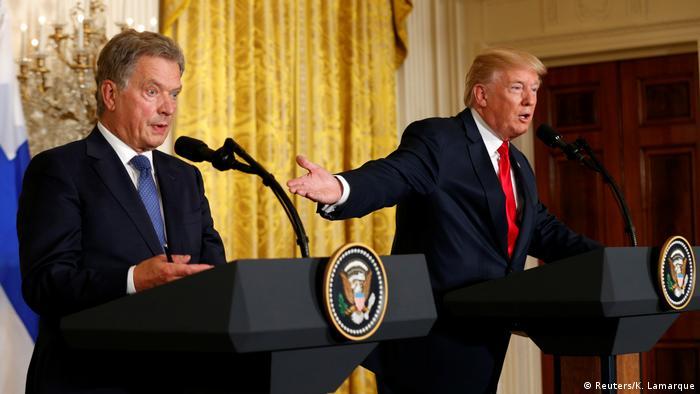 Finland's Sauli Niinisto and Donald Trump in Washington