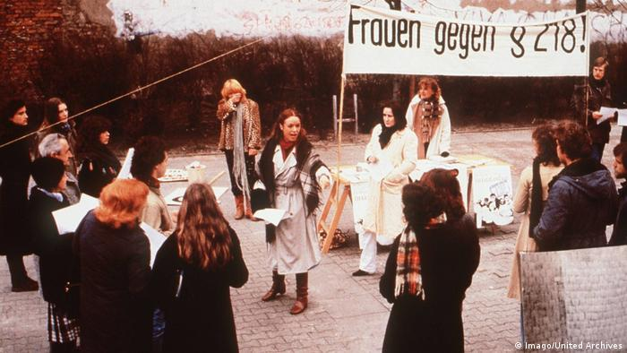 Film still from Marianne and Juliane by Margarethe von Trotta shows women at a demonstration (Imago/United Archives)