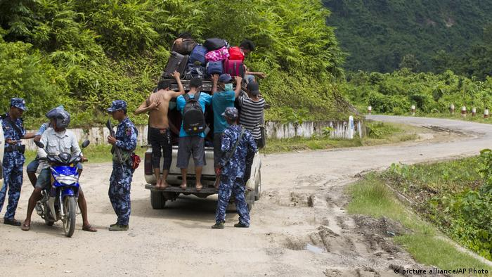 A police checkpoint in Rakhine state