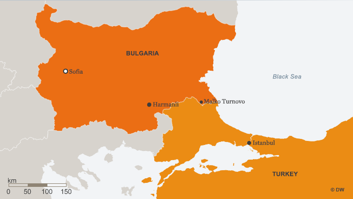A map showing the border between Bulgaria and Turkey