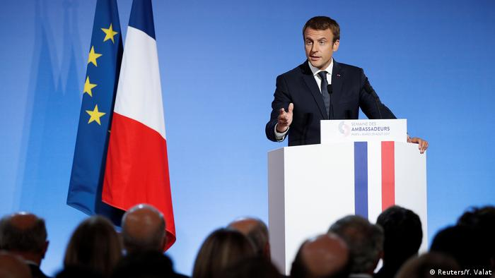 French President Emmanuel Macron addresses a speech during the annual gathering of French Ambassadors