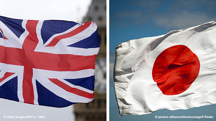 Flags of the UK and Japan