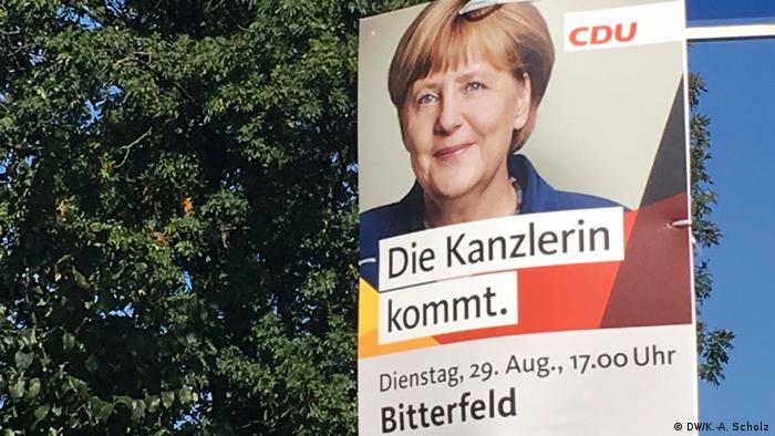 A campaign poster for Merkel in the city of Bitterfeld