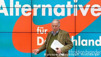 Alexander Gauland in front of a large AfD logo (picture-alliance/dpa/R. Hirschberger)