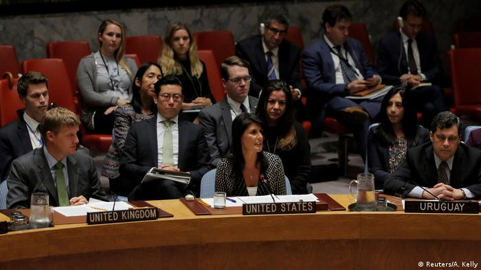 U.S. Ambassador to the United Nations Nikki Haley delivers remarks during a meeting by the United Nations Security Council
