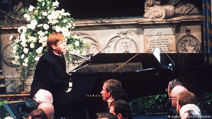 Elton John performing at Princess Diana's funeral