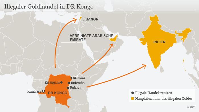 Infografik illegaler Goldhandel DR Kongo DEU
