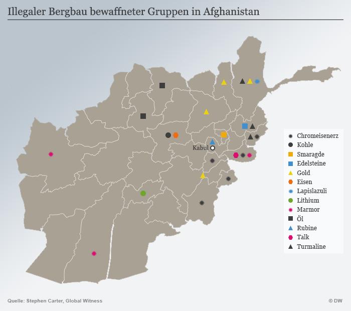 Karte Infografik illegaler Bergbau Afghanistan