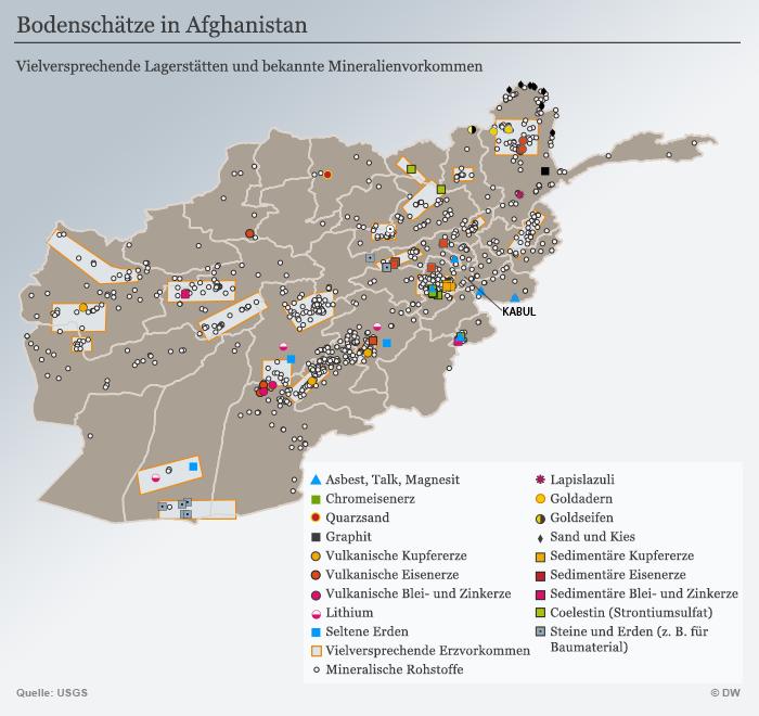 Karte Infografik Bodenschätze Afghanistan
