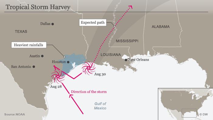 Ураган Харві - карта