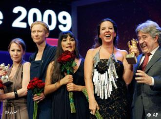 Peruvian-born Claudia Llosa, second from right, with her Golden Bear, the Berlinale's top prize
