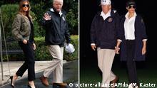 Kombobild- Kritik an Outfit von Melania Trump bei Reise in Krisenregion