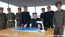 North Korean leader Kim Jong Un inspects a long and medium-range ballistic rocket launch drill in this undated photo released by North Korea's Korean Central News Agency (KCNA) in Pyongyang on August 30, 2017. KCNA/via REUTERS ATTENTION EDITORS - THIS IMAGE WAS PROVIDED BY A THIRD PARTY. REUTERS IS UNABLE TO INDEPENDENTLY VERIFY THIS IMAGE. SOUTH KOREA OUT. NO THIRD PARTY SALES. NOT FOR USE BY REUTERS THIRD PARTY DISTRIBUTORS.