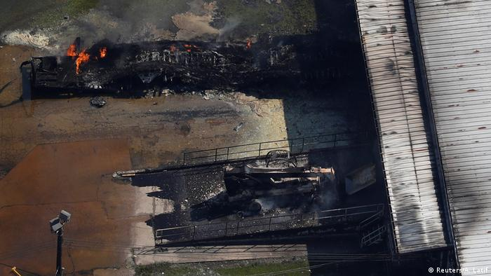 Fire at the flooded plant of French chemical maker Arkema