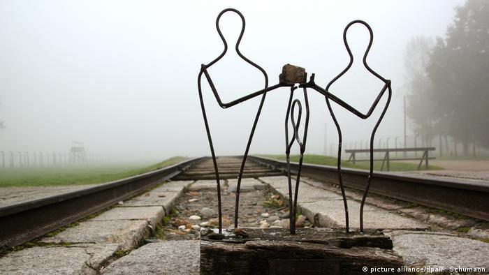 Sculpture on tracks at Auschwitz-Birkenau
